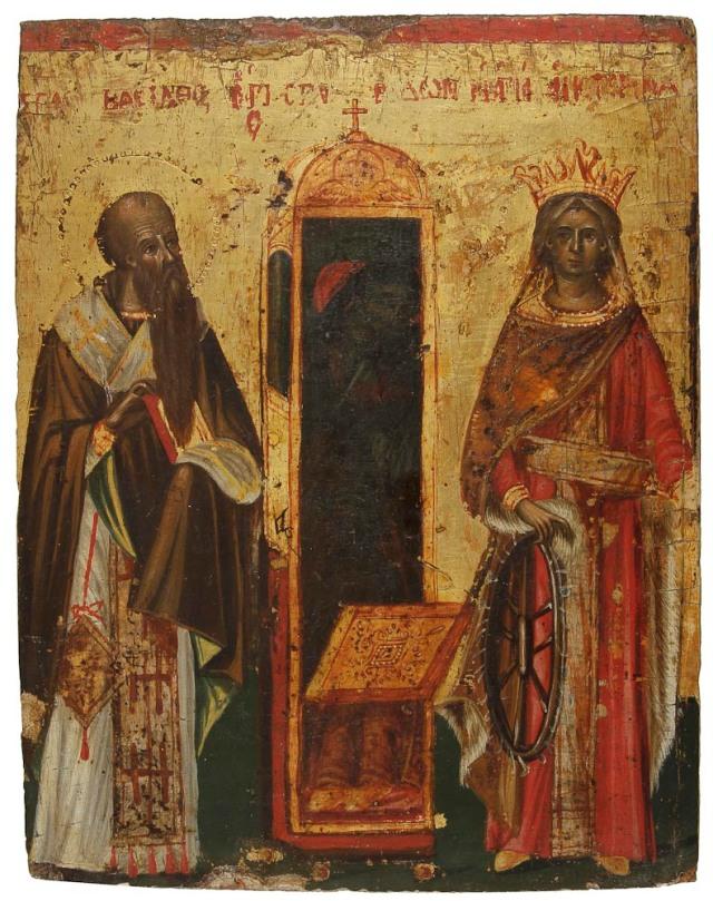 Οι Άγιοι Βασίλειος και Αικατερίνη έχοντας μεταξύ τους την λάρνακα του Αγίου Σπυρίδωνος. Εικόνα που δημοπρατείται στις 19/12/2014 από οίκο δημοπρασιών στο Παρίσι.